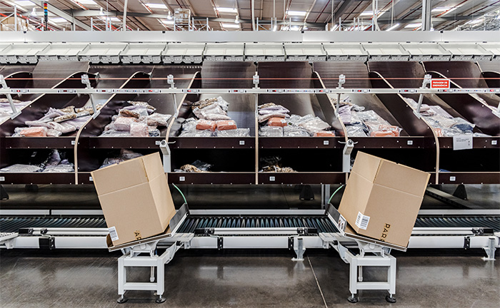 Parfois slide tray sorter with carton holders at the sort destinations